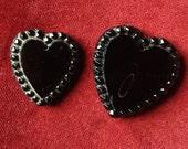 Lot of 2 Antique mourning jet black glass heart memento mori