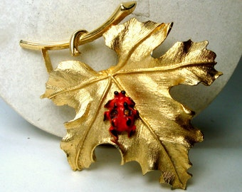 Sarah Cov Gold Leaf Pin with Ladybug,  1980s  Signed, Coventry,  Red Painted BUG Insect On Maple leaf
