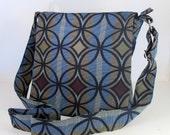 "MESSENGER BAG in ""Mid-century"". Cross Body Bag. Travel Bag. Diaper Bag. Fabric Bag. Graphic print bag. Made in USA."