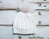 Newborn to 3 Month Old Baby Girl Crochet White Cable Knit Pink Fur Pom Pom Hat