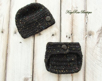 Newborn Baby Boy Hat and Diaper Cover Set Speckled Black