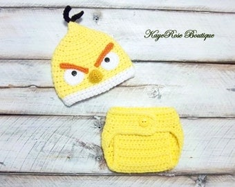Angry Birds Inspired Newborn to Three Month Old Baby Crochet Hat and Diaper Cover Set Yellow Bird