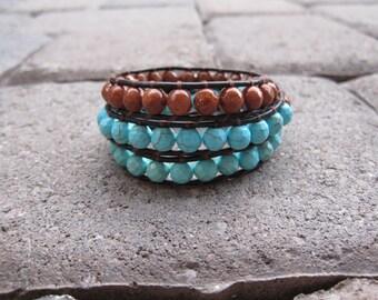 Turquoise Triple Wrap Leather Bracelet