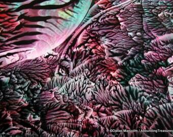 5X7 Abstract Encaustic (Wax) Original Painting. Beeswax Painting. SFA (Small Format Art). Teal, Marsala, Green / Postcard Size Desk Art