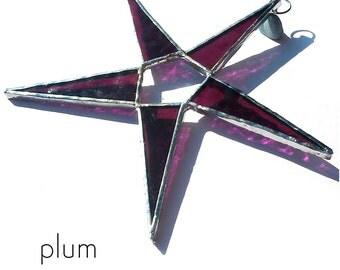 Plum Stained Glass Star Suncatcher