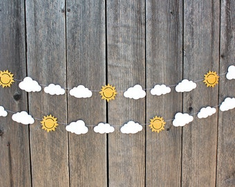You are my Sunshine paper garland - sunshine and clouds garland - Baby shower, Baby's first birthday, sun and clouds