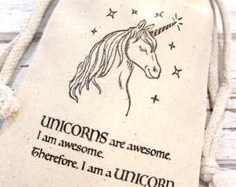 Unicorns are Awesome Favor Bags - Set of 10 4x6 double drawstring bags