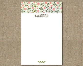 "Personalized 5.5"" x 8.5"" Floral Notepad Teacher Gift Coworker Gift or Office Supply"