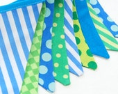 BLUE, GREEN Fishing Party MINI Banner Decoration, Bunting Flags -- Construction, Camping Theme -- Boy's Birthday Decor in cloth fabric flags