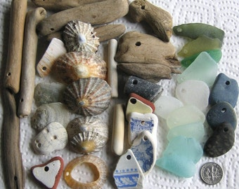 40 Large Sea Glass Driftwood Slag Pottery Shells fossils Dangles Drilled 2-4mm holes supplies (1914)
