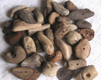 36 Driftwood Sea Wood Beads Centre Drilled 1.5mm holes Supplies (1826)
