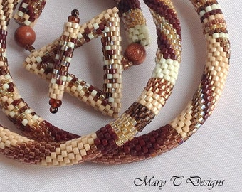 Patchwork Bead Crochet Necklace in Tans and Browns.... EBW Team