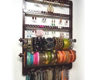 Dark Mahogany Double Bangle Bracelet Holder, Jewelry Organizer, Oak Hardwood, Earring Organizer, Necklace Storage, Rack, Wall Mounted