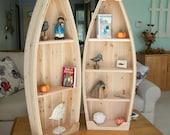 4 foot unfinished row boat shelf bookcase bookshelf hand crafted canoe nautical