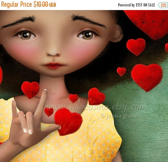 "SUMMER SALES EVENT 5x7 Premium Art Print ""Gesture"" Asl Sign Language for 'I Love You' Small Size Giclee Print of Original Artwork Cute Afric"