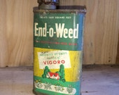 Vintage End-o-Weed Metal Container Rusty and Old