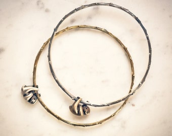 Sloth Bangle Bracelet! Wear This Branch Bangle Bracelet in Silver or Brass and Show Off Your New Sloth Friend