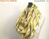 SALE Infinity Scarf - Yellow and blue Cotton Voile Fabric - Modern Fashion Accessory - Ladies Teens Tweens
