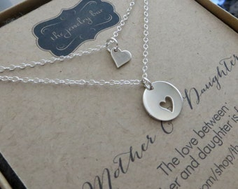 Mommy and me jewelry, mom and little daughter matching necklace, heart necklace, kindergarten