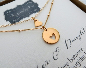 Mother daughter necklace sets & card, different chain for mother and daughter jewelry, holiday gift for mom, aunt and niece, godmother