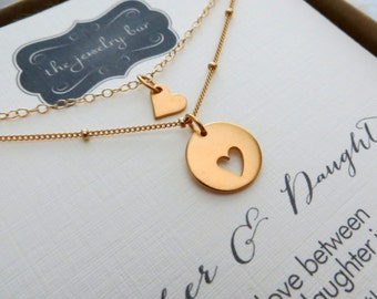 Mother daughter necklace sets & card, different chain for mother and daughter jewelry, holiday gift for mother