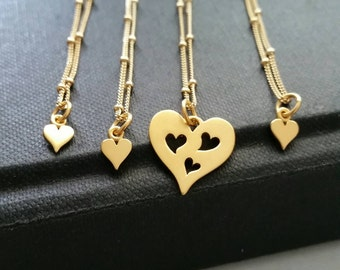 mothers day gift 3 daughters necklace set 24k gp heart cutout charm mother daughters jewelry mom of three children satellite chain
