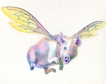 Original painting: 'Mildred' - A flying pig!