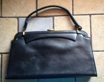 Spring Latch Black Faux Leather Handbag