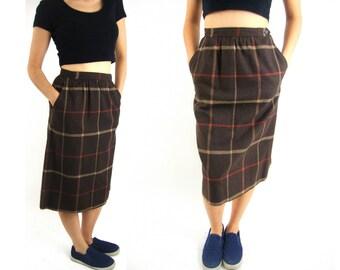 high waist wool plaid skirt brown small