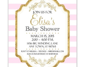 Pink and Gold Baby Shower Invitation, Pink Stripes, Gold Accent Baby Shower Invite, CUSTOM 4x6 or 5x7 size, YOU Print