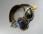 Art DecoBracelet, Labradorite Bracelet, Sterling Silver, Copper Bracelet, Leather Wrap Bracelet, Art Jewelry, Metalsmith, Artisan Bracelet