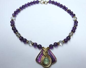 "Vintage Kai Yin Lo (KYLO 925) 16"" Necklace -  Vermeil, Amethyst, Clear Crystal, Aquamarine"