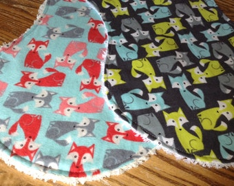 Flannel and Chenille Burp Cloths, Foxes, ready to ship