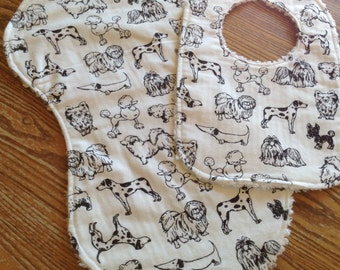 Flannel Burp Cloth and Snap Closure Bib with Chenille Back, Dogs,