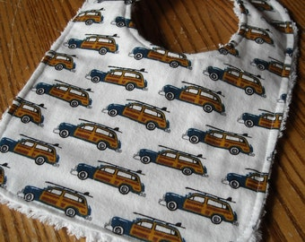 Flannel & Chenille Baby Bib, Snap Closure, Vintage Woodies With Surfboards