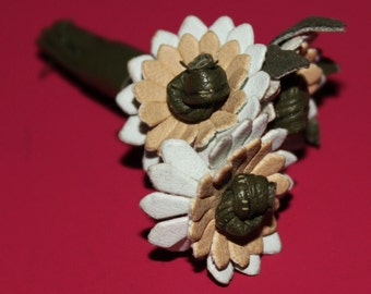 Vintage Leather Flowers Pin (Edelweiss?)