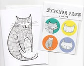Cat Stickers & Card Gift Set