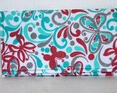 Coupon organizer wallet- Pink and turquoise butterfly