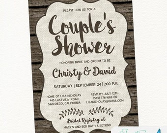 Rustic Couples Bridal Shower invitation,Burlap Bridal Shower Invitation, Printable, Digital or Printed, Wood, Country, Shabby Chic, Boho