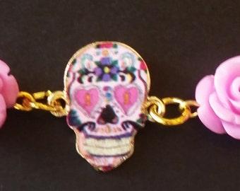 Pink & Gold Dia de Los Muertos Bracelet - FREE SHIPPING