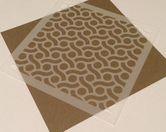 Square 5 inch stencil - geometric retro pattern