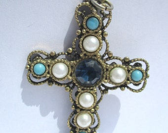 Vintage Emmons Cross Necklace Pendant Blue White Pearl Gems Gold Tone