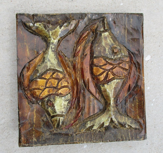 Vintage fish folk art wood carving wall hanging plaque hand