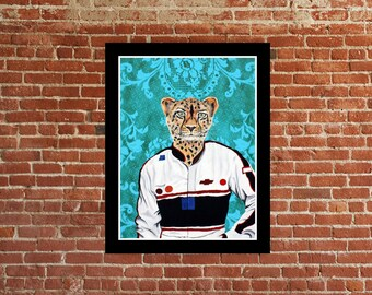 nascar cheetah  limited edition signed numbered animal race car art print