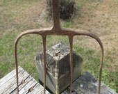 Antique Iron Pitchfork 4 Tines--Primitive Salvage Farm--Barn Tool--Repurpose Man Cave--Rustic Country Charm--Garden Pitch Fork Rake--Rusty