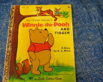 Vintage Little Golden Book--Winnie the Pooh and Tigger--Walt Disney--A. A. Milne--1973--Bedtime Storybook--Classic Story