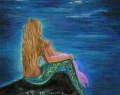 """Mermaid Art Mermaid Art Print Mother Mermaid Baby Mother Daughter Beach Theme Nursery Art  """"Enchanted Mermaids Baby"""" Leslie Allen Fine Art"""