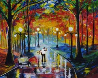 """Couple Art Print Couple Painting Art Print Couple Wall Art Couple In LOVE Romantic Art Wall Art  """"You Got Me Babe"""" Leslie Allen Fine Art"""