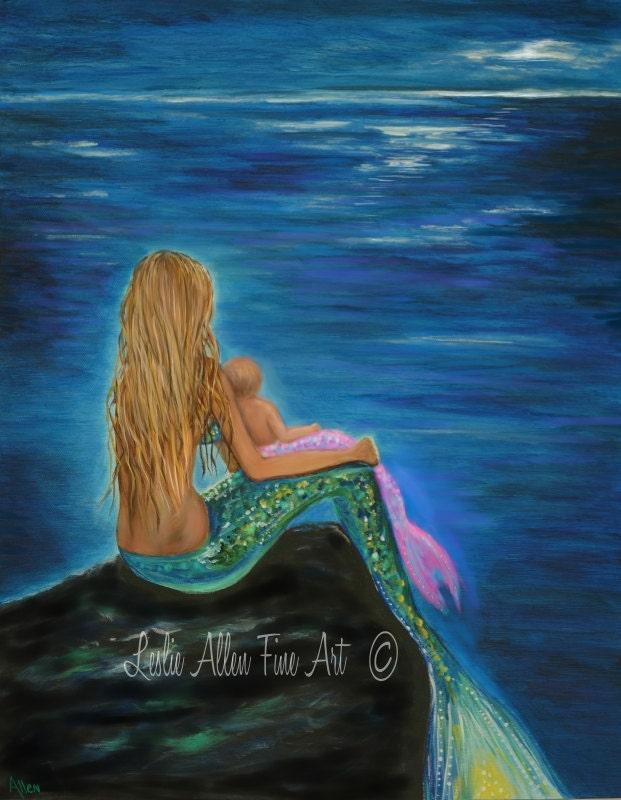 Mermaid art mermaid art print mother mermaid baby mother