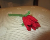 Hand-Knit Long Stem Red Rose
